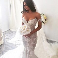Off the Shoulder Mermaid Applique Charming Long Wedding Dress, BG51610 The dress is fully lined, 4 bones in the bodice, chest pad in the bust, lace up back or z