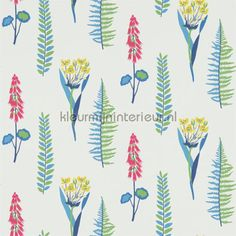 Floral Bazaar blue behang 214773, Papavera van Sanderson