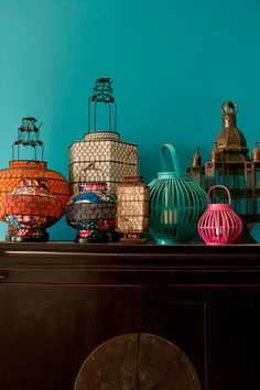 A colourful collection of lanterns.