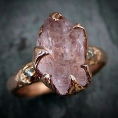 by Angeline — Raw Rough morganite conflict free diamond...