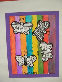 t's first grade class: warm and cool butterflies artsy Classroom Art Projects, Art Classroom, Spring Art Projects, Spring Crafts, Art For Kids, Crafts For Kids, Arts And Crafts, Ideas Collage, Arte Elemental
