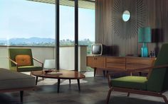 Love everything in this mid century modern living room