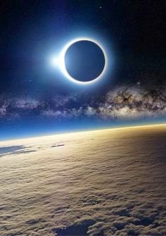 Solar Eclipse and Milky Way seen from ISS (International Space Station)