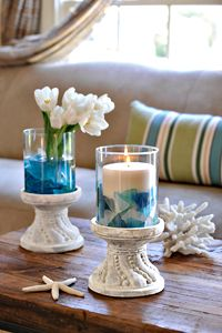 good idea for sea glass!  Coronado Stone Pedestals by Willow House via http://athomewithwillowhouse.tumblr.com/
