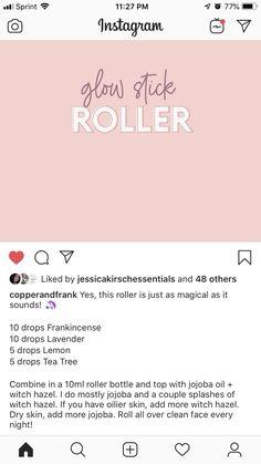 Glow stick roller Roller Bottle Recipes, Glow Sticks, Doterra Essential Oils, Natural Living, Tea Tree, Young Living, Herbalism, Diy, Natural Life