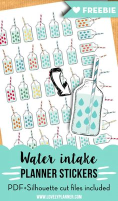 Keep track of your water intake with these free printable water intake stickers to add in your planner. Pdf & silhouette studio cut files included. More planner free printables on lovelyplanner.com