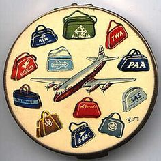 Stratton Airliner Compact    1950s compact by British manufacturer Stratton - love the airline theme!