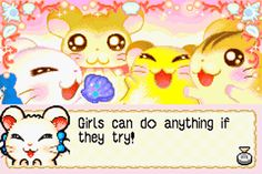 """""""Girls can do anything if they try!"""" Hamtaro!"""