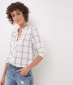 508dd72d90a2b Camisa feminina Camisa manga longa Xadrez com gola padre Marca  Marfinno  Tecido  viscose Composição