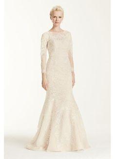 David's bridal - Oleg Cassini Open Back Long Sleeved Wedding Dress  CWG670