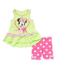 Look what I found on #zulily! Green & Pink Minnie Mouse Tank & Heart Shorts - Infant #zulilyfinds