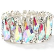 Iceberg Aurora AB Wide Crystal Bracelet Elegant Formal Wedding Prom and Pageant Jewelry