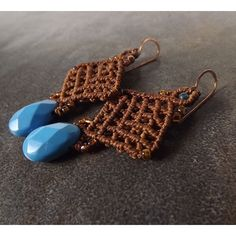 Macrame Earrings, Turquoise Briolette Earrings with Cooper Brown... ($35) ❤ liked on Polyvore featuring jewelry, earrings, crochet jewelry, knot jewelry, dangle charms, turquoise earrings and macrame earrings