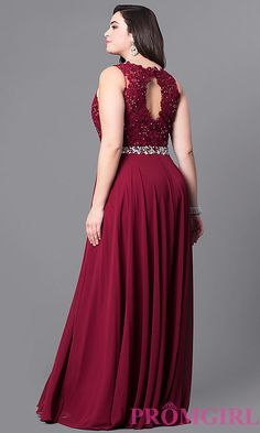 Image of plus-size long evening dress with lace bodice. Style: NA-8270P Back Image