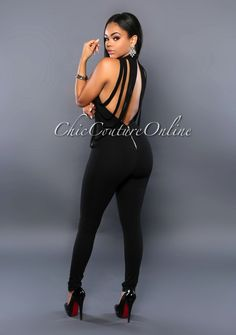 Chic Couture Online - Empire Black Draped Fringe Jumpsuit, (http://www.chiccoutureonline.com/empire-black-draped-fringe-jumpsuit/)