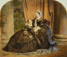 Hand-coloured photograph of Queen Victoria and Victoria, Princess Royal 1857 Queen Victoria Prince Albert, Victoria And Albert, Victorian Women, Victorian Era, Historical Photos, Historical Clothing, Historical Women, Antique Photos, Vintage Photos