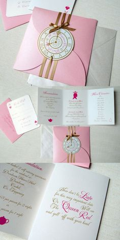 Party Invitations : Lots of Love Invitations with Pink Envelope complete with Awesome Brown Ribbon Decorations featuring Pink Lettering Note Wording - Alice In Wonderland Party Invitations Inspirations Ideas