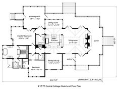 floor plan with central kitchen and wrap around porch