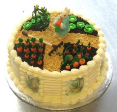 Marzipan Animals | Carrot Cake with cream cheese frosting. Marzipan garden vegetables ...