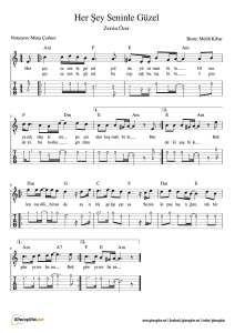 Her Sey Seninle Guzel Nota Tab Gitaregitim Net Muzik Notalari Notalara Dokulmus Muzik Piyano