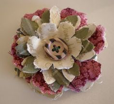 Creative Chatter: New Direction.Making Shabby Fabric Flower Brooches! Fabric Flower Brooch, Fabric Flower Tutorial, Fabric Roses, Paper Roses, Cloth Flowers, Burlap Flowers, Faux Flowers, Diy Flowers, Shabby Chic Flowers