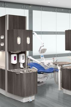 A-dec 500 dental chair with Pacific upholstery and Inspire dental cabinets.