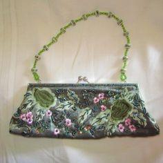 Apt. 9~ Beautiful Petite Green Beaded Formal Evening Clutch Baguette Purse Handbag
