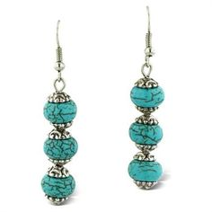 Trendy Three Stone Turquoise Drop Dangle Earrings  in just $5