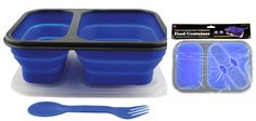 Silicon Collapsible Food Container with 2 Compartments, Included Double Sided Fork/Spoon