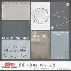 Digitale Downloads - Stadtrundgang 4x6 Journaling Karten - ein Designerstück von Rikki_Donovan bei DaWanda Project Life Karten, Project Life Cards, Scrapbook Letters, Der Plan, Pocket Letters, Smash Book, Journal Cards, Bookbinding, Mini Books