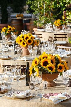 Wedding Themes You can have a Tuscany wedding without ever leaving the states with these gorgeous ideas. - You can have a Tuscany wedding without ever leaving the states with these gorgeous ideas. Low Wedding Centerpieces, Wedding Table, Wedding Decorations, Table Decorations, Wedding Reception, Sunflower Centerpieces, Tuscan Wedding, Rustic Wedding, Under The Tuscan Sun