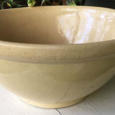 Large Primitive Yellow Ware Bowl -   From A Private Collection -   Now At Holly Lane Antiques On Etsy!