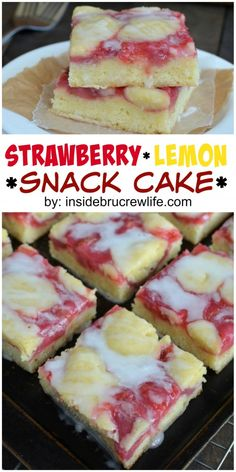 Strawberry Lemon Snack Cake ~ a delicious choice for breakfast or any time of day | InsideBruCrewLife.com