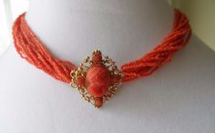 Fine Antique Georgian Early Victorian Coral Cameo Necklace Cannetille 15k Gold