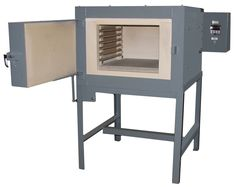 Ceramic Fiber lined furnaces are general purpose box furnaces for batch heat treating in air atmosphere. This LI7-M18 is heading to an auto parts stamping manufacturer.  Ceramic fiber insulation has low heat storage/low thermal conductivity and high thermal shock resistance for fast heat up and fast turn around time between loads. Ceramic Fiber, Heat Treating, Drafting Desk, Insulation, Stamping, Purpose, Storage, Box, Furniture
