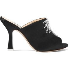Attico Pamela embellished satin mules (€750) ❤ liked on Polyvore featuring shoes, black, high heeled footwear, black satin shoes, black mules shoes, high heel mule shoes and slip on shoes