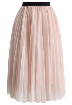 Dreamy Pink Mesh Pleats Tulle Skirt - Retro, Indie and Unique Fashion