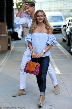Olivia Palermo was spotted in New York City beside her new husbandJohannes Huebl on Wednesday afternoon