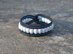 Handmade leather wrap bracelet #leather #bracelet #handmade #beads #summer #blue #white