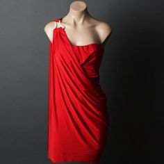 Red Women Juniors Formal Party Goddess Strapless One Shoulder Dress  So excited to wear this dress this summer on a date with my husband!!