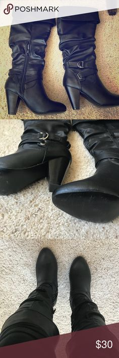 Super cute heeled boots Great condition! Only worn a couple times but unfortunately is too small for my feet. A little snug and hard to fit around my calves. Has very small mark on boot not sure what it could be but it's very hard to see. Shown in picture. Size 7.5 Rampage Shoes Heeled Boots