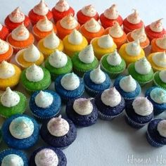 Rainbow for St. Patty's Day...I will do this with mini cupcakes for our St. Pat's celebration.