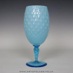 Large Italian Empoli light blue decorative glass brandy balloon vase goblet