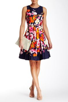 My Easter Dress this year  Eliza J | Sleeveless Floral Fit & Flare Dress | Nordstrom Rack