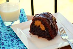 Chocolate peanut butter-stuffed bundt cake.  Orgasmic.