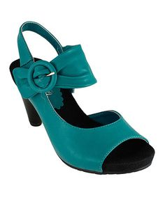Look what I found on #zulily! Turquoise Gathered Mocha Sandal by Lena Luisa #zulilyfinds