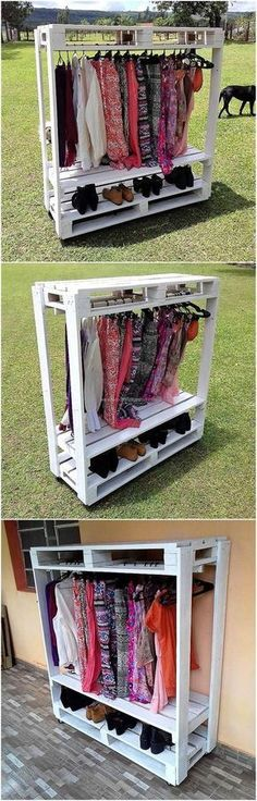 This is a great idea if a person is going to sell the products in an exhibition because it shows the dresses and the shoes in a proper manner. This idea of creating cloths hanger cum shoe rack works well if a person thinks placing closet in the room will Pallet Crafts, Pallet Projects, Pallet Ideas, Diy Pallet, Pallet Wood, Pallet Stairs, Small Pallet, Pallet House, Pallet Patio