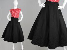 Vintage 50s Taffeta Skirt 1950s Full Skirt Long by ZeusVintage