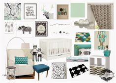 A minty boy nursery {mint, teal, black and white} with Babyletto Mercer