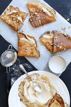 Banana crepes + fleur de sel with caramel cream.